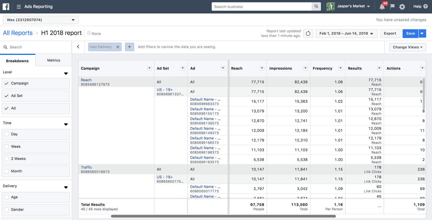 Facebook Ads Manager Update