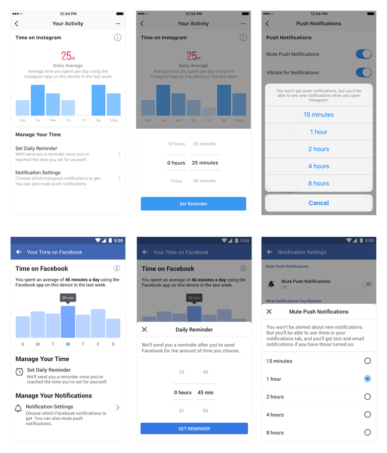 Instagram Facebook Time Tracking Features
