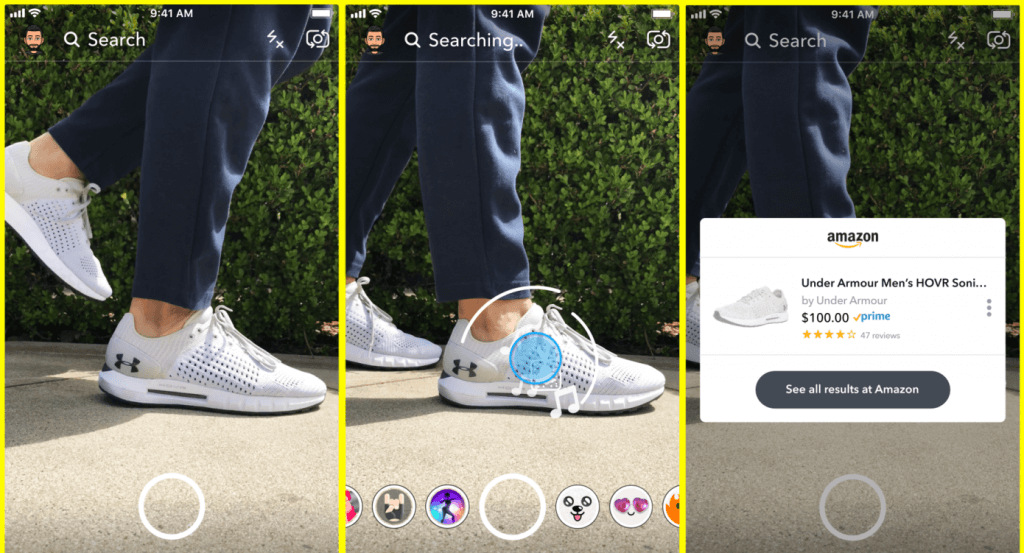 Snapchat Amazon visual search